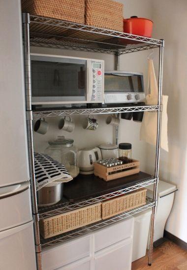 無印でつくるキッチン収納 スチールラック キッチン 小さな