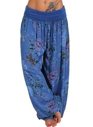 SERYU Loose Pocket Button Harem Pants Women Casual Print Pants Wide Leg Pants