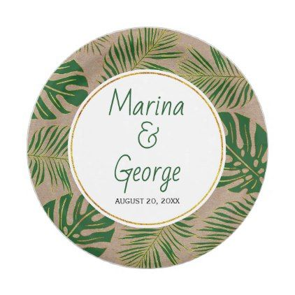 Tropical leaves modern green, gold rustic wedding paper plate ...