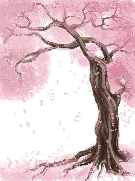 tree paintings | sakura tree by scarlettestar digital art drawings paintings landscapes ...