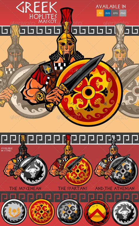 Buy Greek Hoplite Mascot with Sword and Shield by FUANDHOBR on GraphicRiver. Greek Hoplite Mascot with Sword and Shield, available in 3 variation,including extra shields.