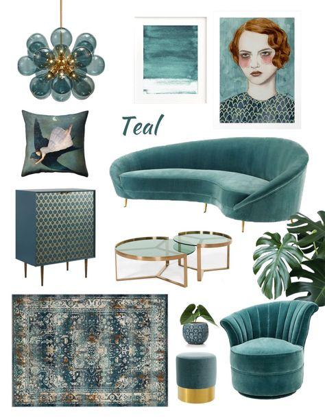 Home shopping online moodboard teal, dark teal interior, dark teal decor trend, furniture teal, ital