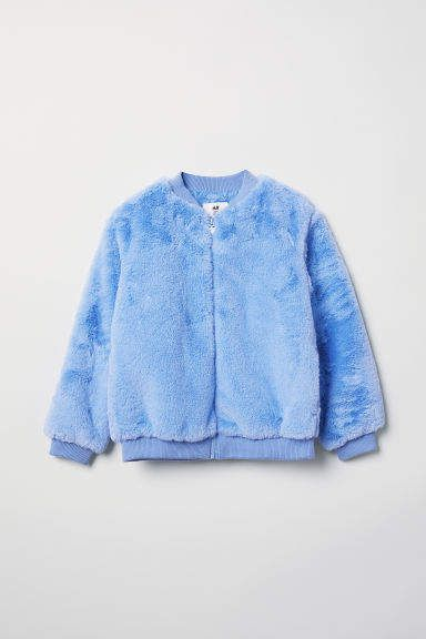 Faux Fur Bomber Jacket Light Blue Kids H M Us In 2020 Faux Fur Bomber Jacket Fur Bomber Bomber Jacket