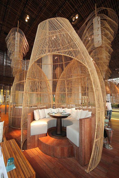 PIN Retreat & Spa Restaurant Interior Design in Bali. Love the look and shape of this design that made from wood. It gives you a tropical feel and suit the overall design and space in Bali.