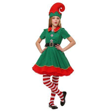 Girls Holiday Elf Costume Walmart Com In 2020 Elf Dress Christmas Elf Costume Girl Elf Costume