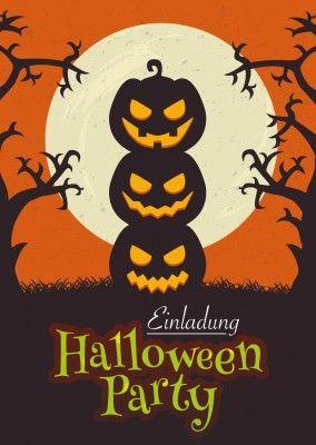 Halloween Party Einladung Mit Drei Gruseligen Kürbisen
