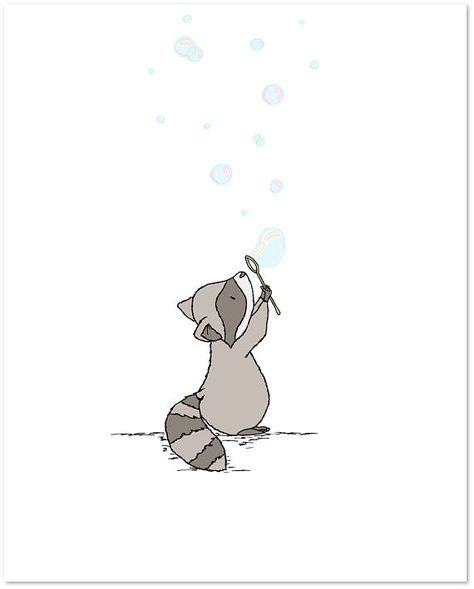 Woodland Nursery Art Raccoon Bubbles Bubbles Nursery Art