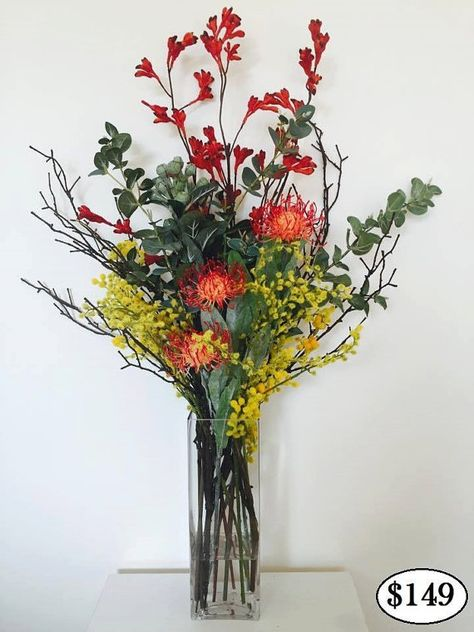 Real Touch Australian Native Flower Arrangement In Artificial Water Vase Flower Vase Arrangements Australian Native Flowers Flower Arrangements Simple