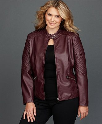 3f13049d0c1 Plus Size Faux-Leather Moto Jacket