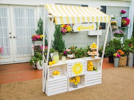 Ken Wingard's DIY Lemonade Stand could easily double as an egg stand! It comes apart for easy storage in your garage during the off season! Hallmark Homes, Home And Family Hallmark, Hallmark Channel, Kids Lemonade Stands, Lemonade Bar, Diy For Kids, Crafts For Kids, Water Balloons, Diy And Crafts