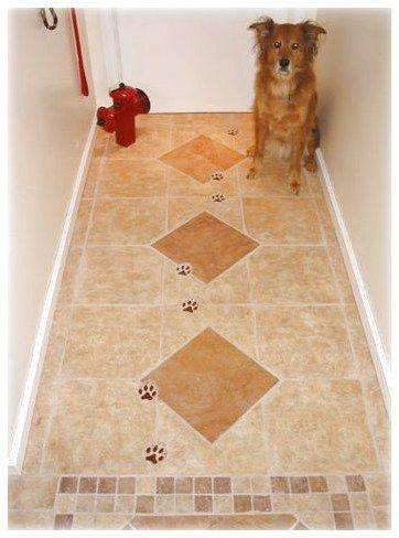 dog track ceramic tiles for mud room