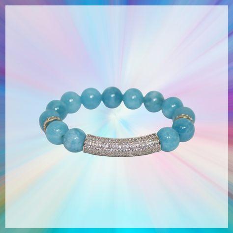 Blue Quartz Boujie Bracelets - Blue Quartz and Silver Micro paved tube