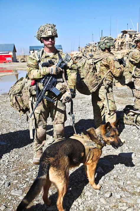 U.S. Army Cpl. Roth and his military working dog, Sgt. Rosso.   Best dogs in the whole world. Will give their lives for you'.