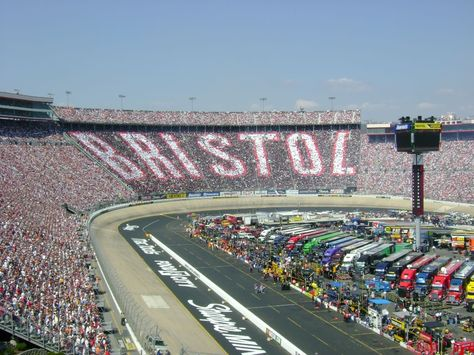 Bristol Motor Speedway Bristol, Tennessee.  Go there for the Spring race every year.  My favorite race track.