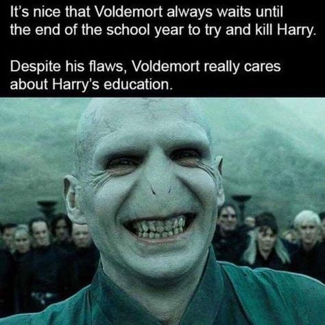 """Caption that reads, """"It's nice that Voldemort always waits until the end of the school year to try and kill Harry. Despite his flaws, Voldemort really cares about Harry's education"""" above a pic of Voldemort"""