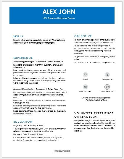 Account Manager Resume DOWNLOAD at    writeresume2org account - account director resume