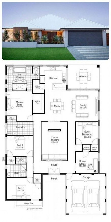 45 Best Ideas For House Plans 4 Bedroom Open Floor Offices Family House Plans Dream House Plans Bedroom House Plans