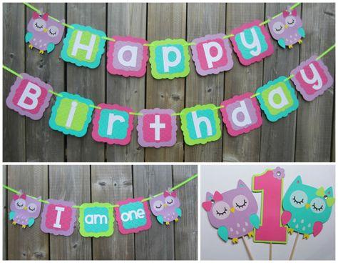 Owl Theme Birthday Banner  Owl Birthday by lilcraftychickadee