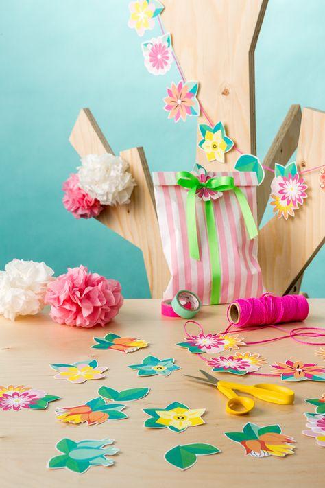 Pop up kemut tulostettava kukkaviiri - Diy printable flower garland