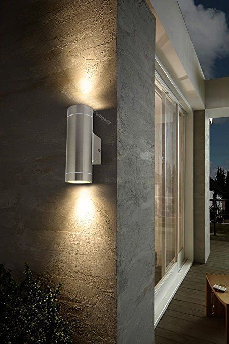 2 X Stainless Steel Double Outdoor Wall Light Ip65 Up Down Outdoor