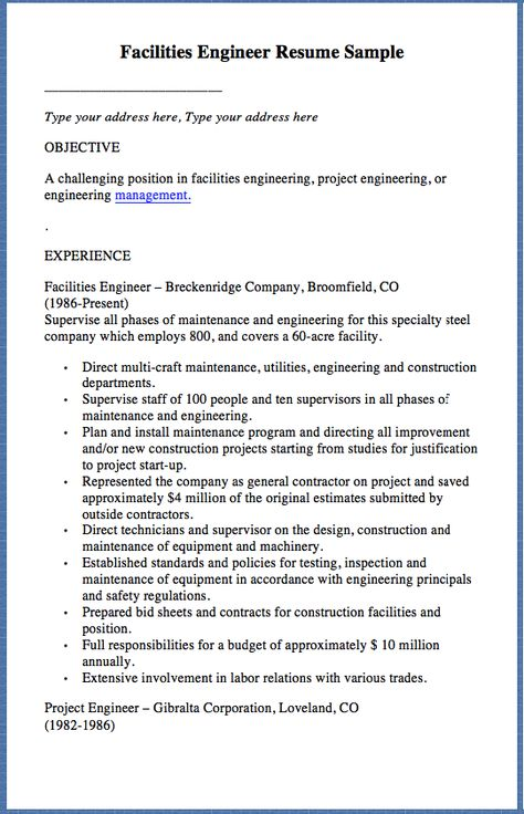 Facilities Engineer Resume Sample Type your address here, Type - project engineer resumes
