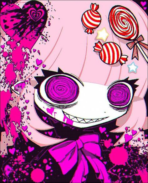 Creepy crazy candy girl #candy #candy #drawing
