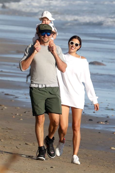 Bradley Cooper, Irina Shayk, and Their Baby Just Had the Cutest Family Beach Day - HarpersBAZAAR.com #celebritybabies