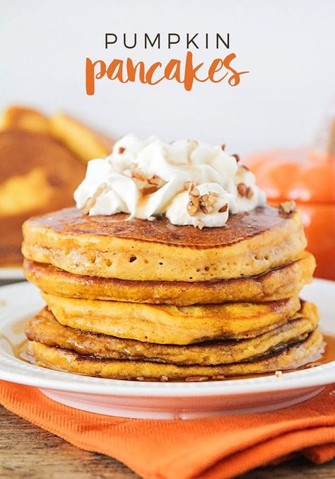 This easy pumpkin pancakes recipe is so light and fluffy, with the perfect pumpkin spice flavor. A delicious fall breakfast everyone will love! Pumpkin Pancakes Easy, Pumpkin Pumpkin, Pumpkin Ideas, Fall Breakfast, Pumpkin Breakfast, Breakfast Pancakes, Fruit Pancakes, Perfect Breakfast, Autumn Breakfast Recipes