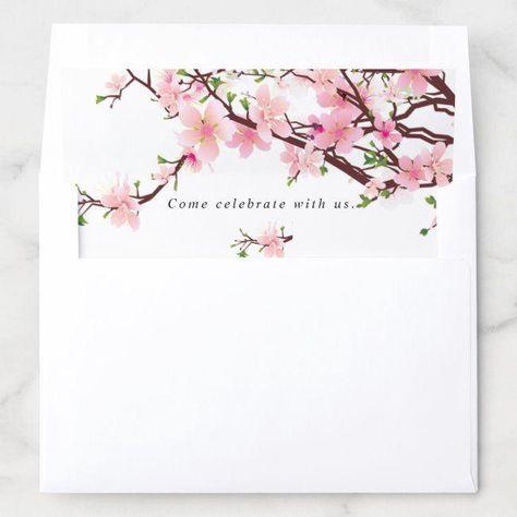 Cherry Blossom Spring Wedding Envelope Liner #Ad , #spon, #Wedding#Envelope#Liner#Spring #springwedding