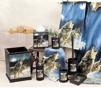Northwoods Woodland Lodge Cabin Wolf Bath Accessory Set Hautman Brothers Decor Junior Wolfwatchers In 2019 Country Bedroom