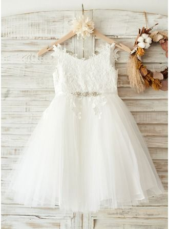 A-Line/Princess Straps Knee-length Rhinestone Tulle Lace Sleeveless Flower Girl Dress Flower Girl Dress