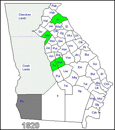 Cherokee County Georgia Was Created From Ceded Land Of The - Georgia map english