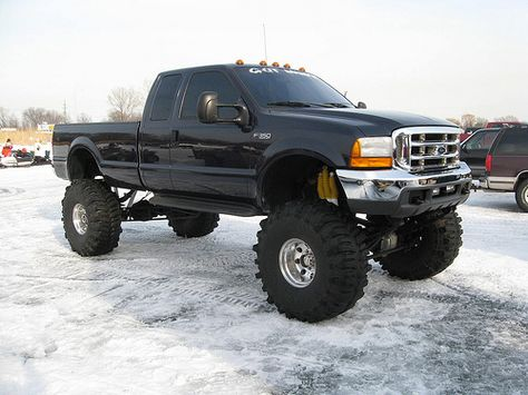 f-350 lifted black ford truck