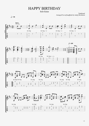 Traditional Happy Birthday Guitar Sheet Music Tab Met