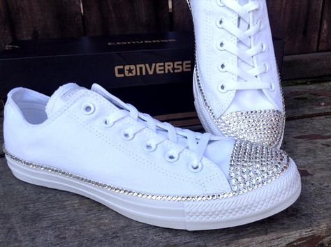 Canvas White Wedding Converse Low Top Bling Crystal Bridal