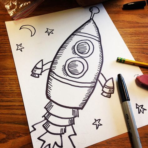 Art Projects for Kids: Old Style Rocket Drawing