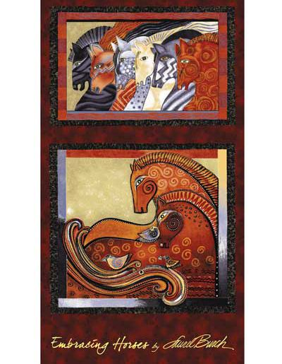 Embracing Horses Brick Panel - Laurel Burch - Clothworks - 1 panel - More Available by BywaterFabric on Etsy