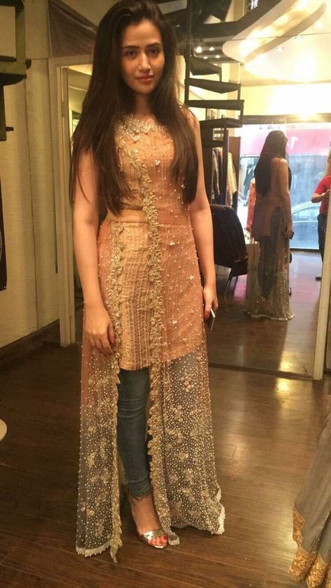 Golden Peach Pink Dress with Pakistani Long Net Gown work Embellieshed with Pearls Moti and Nagh Wor