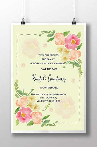 Wedding Card Flower Yellow Background Poster Pikbest Templates