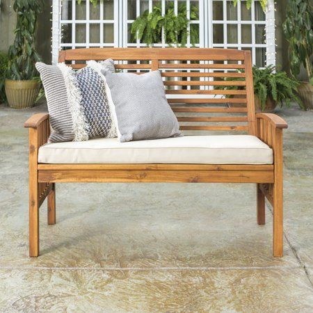 Manor Park Acacia Wood Patio Loveseat Bench Brown Size 37 Inch