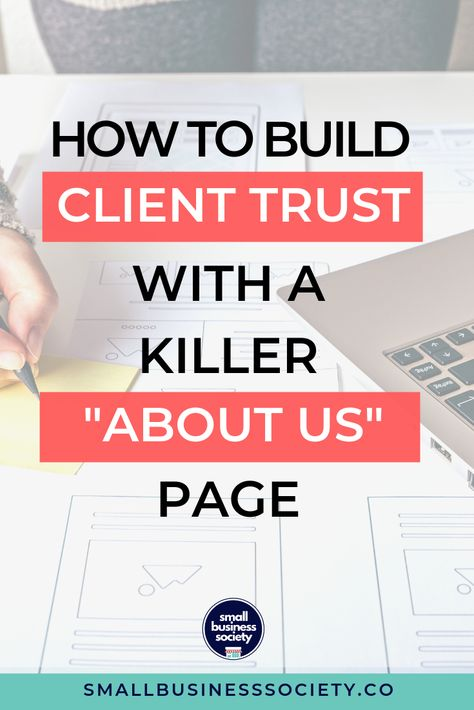 Build your client trust with using your website. Best Ideas to Write and Design an About Us Page for Your Website that will engage and convert. Your business about us page is the most simple way to connect with your audience and build client trust. These tips and examples will help you create a killer, mind blowing about us page that will not only help you connect with customers but even help convert traffic into leads.  #businesstips #websiteinspiration