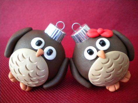 Owl Christmas Ornaments porcelana fria polymer clay pasta francesa masa flexible fimo modelling modelado figurine cake topper