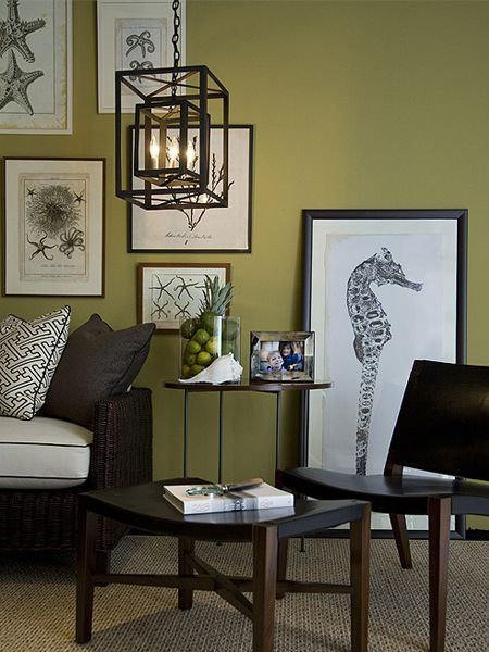 Love The Prints And The Green Wall Color Living Room Green Modern Interior Decor Interior