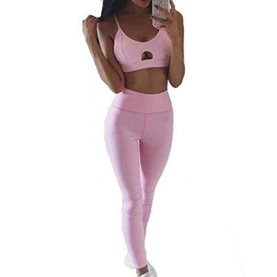 e574ee35c2a46 Hibote 2 Pieza Conjunto Deportes Sostén Yoga Pantalones Deporte Trajes Sexy Gimnasio  Conjuntos Casual Traje para Mujer