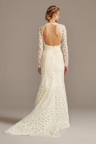 Long Sleeve Illusion Venice Lace Wedding Dress David S Bridal In 2020 Davids Bridal Wedding Dresses Wedding Dresses Lace Wedding Dresses