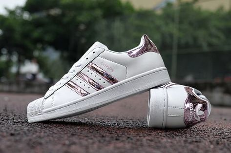best sneakers 3aca1 1399c Ladies Adidas Superstar 3d White Stripe Pink Sneakers
