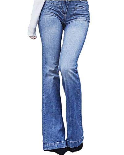 b0e0a97fcad Mujeres De Cintura Alta Jeans Largos Denim Acampanados Pantalones De Campana