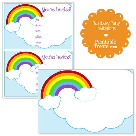Printable Rainbow Party Invitations from PrintableTreats.com