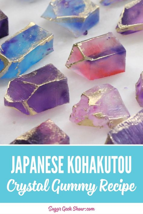 Kohakutou is a Japanese candy made from Agar Agar. It is made by pouring flavored jelly into a dish and allowing it to set before cutting or tearing into crystal shapes. The candy develops a crunchy outer crust after a few days but remains delightfully chewy inside. #candy #japanese #agaragar #diyedible #homemade #gummy #gummies