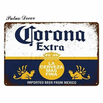 Beer Metal Sign Plaque Vintage Corona Beer Lovers Wall Poster Tin Garage Decor In 2020 Metal Wall Sign Wall Signs Plaque Sign